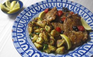 This March 6, 2017 photo shows Greek-style roasted lemon potatoes in New York. This dish is from a recipe by Sara Moulton. (Sara Moulton via AP)