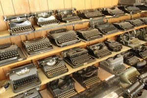 A collection of typewriters at Morrills shop in New Milford.