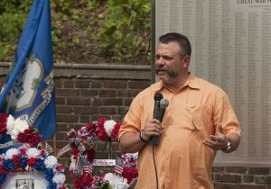 Frank J. Monteiro, the recipent of the 2017 Malcolm Baldrige Community Award, offers the assistance of MacDermid Performance Solutions, where he is chief operations officer, to spruce up and landscape the area around a World War I monument on Meadow Street in May. Republican-American Archive photo.