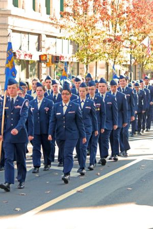 Cadets from the Air Force Junior ROTC march up Church Street during Naugatucks Veterans Day parade on Saturday. Elio Gugliotti Republican-American