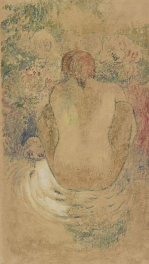 [19]  Paul Gauguin (1848–1903), Crouching Tahitian Woman Seen from the Back, ca. 1902, monotype in watercolor with opaque white watercolor, Thaw Collection, The Morgan Library & Museum, 2017.90. Photography by Graham S. Haber, 2011.