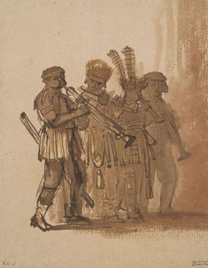 [3]  Rembrandt van Rijn (1606–1669), Four Musicians with Wind Instruments, ca. 1638, pen and brown and black ink and brown wash, and red and yellow chalk, Thaw Collection, The Morgan Library & Museum, 2004.42. Photography by Steven H. Crossot, 2014.