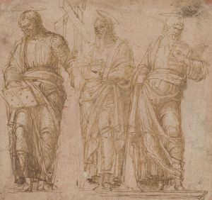 [2]  Andrea Mantegna (1431–1506), Three Standing Saints, ca. 1450-1455, pen and brown ink on paper toned with red chalk, Thaw Collection, The Morgan Library & Museum, 1985.100. Photography by Steven H. Crossot, 2014.