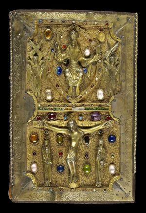 Jeweled cover with cast figures of Christ in Majesty and the Crucifixion set against a silver-gilt filigree background with gems. Continental, perhaps Germanic, last third of the 11th century. On: Gospels of Judith of Flanders, in Latin, England, between 1051 and 1064, for Judith of Flanders (1032–1094). Manuscript on vellum. Purchased by J.P. Morgan, 1926.