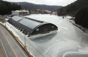 A view from a drone shows the Kent School ice rink frozen in ice. The independent school decided to cancel classes for the week and send students home on Monday. Photo courtesy of Bernie Meehan