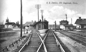 This undated view of Saybrook Junction is from the center of the Valley Line track looking northwest in Old Saybrook.