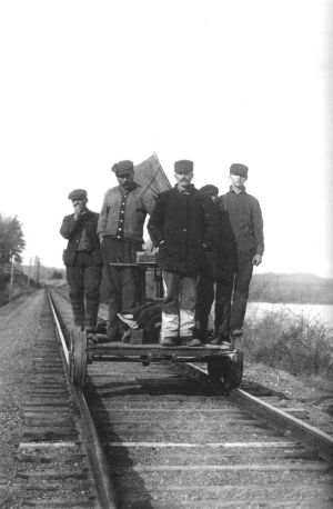 This undated Haddam Historical Society photo shows a section gang maintaining the Valley Line along the Connecticut River.