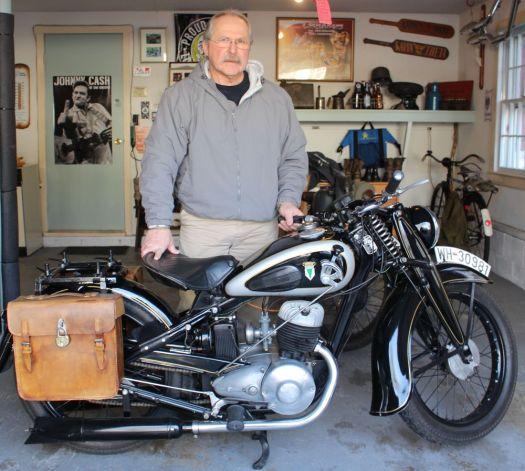 Bud Wilkinson Republican-American  Carl Moeller and his 1939 DKW NZ 250 motorcycle from Germany.