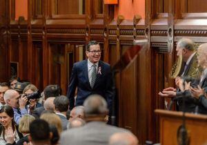 HARTFORD, CT. 07 February 2018-020718BS - Governor Dannel Malloy arrives to address the joint session of the general assembly for the state of the state address at the state capital in Hartford on Wednesday. Bill Shettle Republican-American