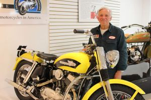 Photos by Bud Wilkinson Republican-American Dale Prusinowski and his 1956 Harley-Davidson KH that is on display at the Motorcyclepedia Museum in Newburgh, N.Y.