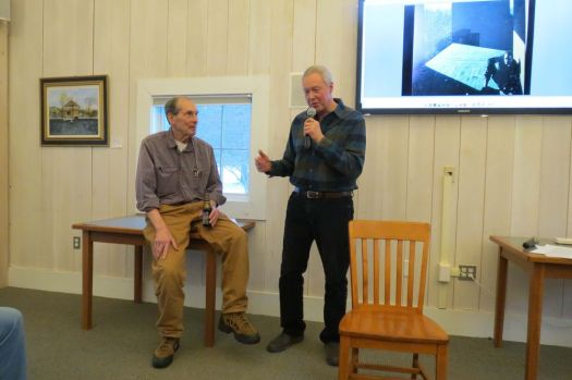 Ruth Epstein Republican-American Jerry Doolittle, left, and Richard Sears talk about their experiences of riding the rails in their younger years during a program sponsored by Cornwall Library on Saturday.