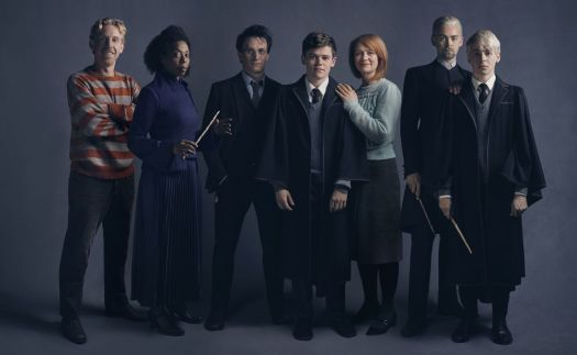The cast of 'Harry Potter and the Cursed Child,' now in previews at Broadway's Lyric Theatre, includes, from left, Paul Thornley as Ron Weasley, Noma Dumezweni as Hermione Granger, Jamie Parker as Harry Potter, Sam Clemmett as Albus Potter, Poppy Miller as Ginny Potter, Alex Price as Draco Malfoy and Anthony Boyle as Scorpius Malfoy. Charlie Gray