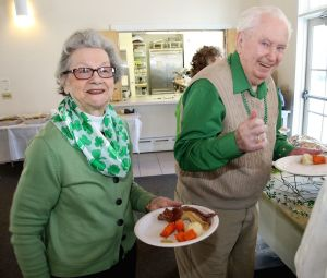 Rita and Tony Knox of Litchfield were among those enjoying a St. Patrick's Day lunch at Warren Congregational Church. John McKenna Republican-American