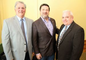 Litchfield-Morris Rotary Club President Ron Swanson, center, with Jeff DeClerck, left, senior investigator at Foxwoods Resort Casino, and Jerry Longo, senior investigator at Mohegan Sun. John McKenna Republican-American