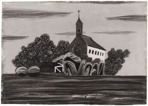 Unidentified Artist (American), Church and Graveyard, c. 1850. Chalk or charcoal on marble-dusted paper. Wadsworth Atheneum Museum of Art, Bequest of Edward Gorey, 2001.13.5. 3. Eugène Atget, printed by Berenice Abbott, Naturaliste, rue de l'Êcole de