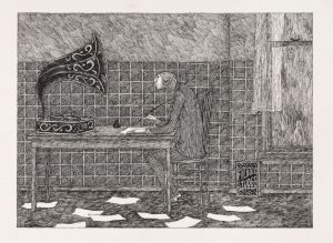 Edward Gorey'S 'Without his clippings, Jasper now wrote long letters to Ortenzia, which went unanswered.'