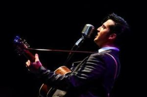 Alex Swindle appears as Elvis Presley in 'One Night in Memphis' on Saturday at the Palace Theater in Waterbury. Contributed