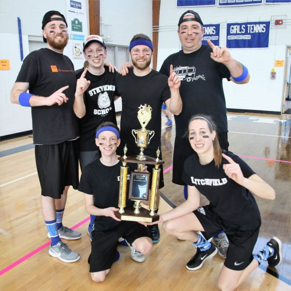 'Madness in the Middle' won the second annual Retro Dodge Ball Tournament in Litchfield. Team members are, kneeling, Kyle Harris and Paige Young, and standing, from left, Ryan Ford, Kevin Harris, Jake Gioia and Brian Mongeau. John McKenna Republican-American