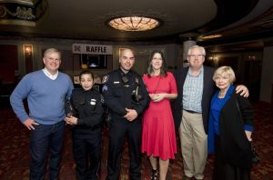 Volunteers, from left, Jack Senich; Waterbury Police officer Jane Robinson; Waterbury Police Sgt. Ryan Bessette; Campership President and Republican-American Managing Editor Anne Karolyi, WATR's Tom Chute and Barbara Davitt in the lobby of the Palace Theater in Waterbury after they, and other volunteers, collected donations to benefit the Greater Waterbury Campership Fund Saturday during intermission of Jersey Boys at the Palace Theater in Waterbury. Jim Shannon Republican-American