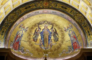 The baldachin around the altar and mosaics at the Basilica of the Immaculate Conception in Waterbury have been recently conserved and cleaned by the John Canning Co. of Cheshire, just in time for Easter. Steven Valenti Republican-American