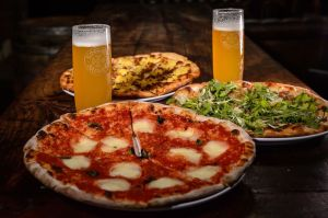 Some of the pizza's for sale at Restaurant Sauced at the Kinsmen Brewing on Thursday afternoon. Bill Shettle Republican-American