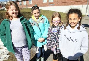 Goshen Girl Scouts assisting at the Recreation Department's Easter egg hunt are, from left, Analese Gilmore, Riley Olson, Lily Cardinal and Roslena Carlson.