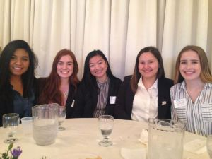 cutline attribution name:Josie Albertson-Grove Republican-American From left, Vivian Jimenez, Carlee Greene, Kimberly Phengkaen, Angela Tavarez and Kellyn Richard were among 78 Torrington High School students who spent Tuesday morning interning at one of two dozen local companies and government agencies.