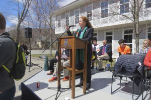 Rep. Elizabeth H. Esty speaks at Friday's March for Action against gun violence in Kent. Ruth Epstein Republican-American