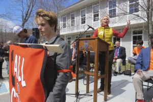 Maria Horn, Democratic candidate for representative from the 64th District, speaks at the March for Action Friday in Kent. Ruth Epstein Republican-American