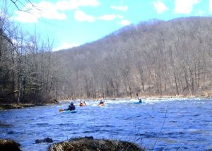 Heading Down Fife Brook on a sunny spring day in a whitewater kayaking clinic at Zoar Outdoor in Charlemont, Mass. (Tim Jones/EasternSlopes.com photo)