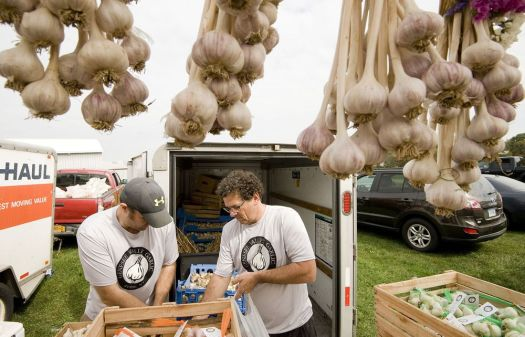 In this photo from last year's 13th annual Garlic and Harvest Festival at the Bethlehem Fairgrounds, shows Jake Ayers and Jeff Passarell, owners of Genesee Valley Garlic in Troy, NY, bagging garlic bulbs for customers. A new ordinance will require promoters of large events at the Bethlehem Fairgrounds share their plans with local officials. Republican-American archives
