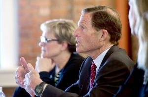 U.S. Sen. Richard Blumenthal addresses Torrington leaders, including Mayor Elinor C. Carbone, rear, and advocates to urge strong federal oversight of sober homes Wednesday at Charlotte Hungerford Hospital in Torrington. Jim Shannon Republican-American