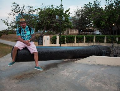 Contributed photos Waterbury's Felix Rodriguez is seated on a cannon barrel located in Havana at the Hotel Nacional de Cuba. The cannon was used during the Spanish-Cuban-American war of 1898, Rodriguez said. He added the famous hotel has also hosted many visiting celebrities, such as Mickey Mantle, Rocky Marciano, Frank Sinatra, Winston Churchill, Marlin Brando, Ernest Hemingway, and others.