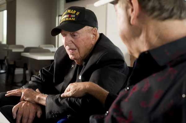 World War II veteran Sidney Walton, 99, of San Diego, and his son, Paul, are on a quest to visit all 50 state capitals before Sidney's 100th birthday in February 2019. They call it the 'No Regrets Tour.' The two will be visiting with Gov. Dannel P. Malloy today. Jim Shannon Republican-American