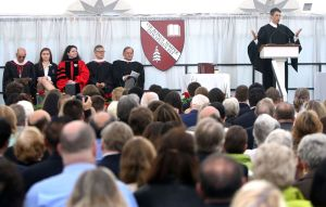 WASHINGTON CT. 28 May 2018-052818SV08- Peter Becker, Head of School, gives the Commencement Address during the graduation ceremony at The Gunnery School in Washington Monday. Steven Valenti Republican-American