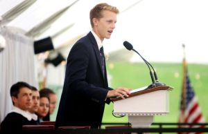WASHINGTON CT. 28 May 2018-052818SV06- Kenyon Kay, 18, of Bridgewater gives the Head Perfect Address during the graduation ceremony at The Gunnery School in Washington Monday. Steven Valenti Republican-American