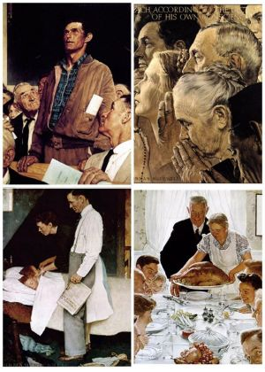Norman Rockwell's Four Freedoms, clockwise from top left: Freedom of Speech, Freedom to Worship, Freedom from Want, Freedom from Fear. (Norman Rockwell Museum)