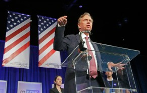 Democrat Ned Lamont accepts his party nomination for governor at the 2018 Connecticut Democratic Convention in Hartford Saturday afternoon. Michael Kabelka / Republican-American.