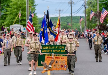 WOLCOTT, CT. 28 May 2018-052818BS352 - The Wolcott Boy Scout Troop 230 marches in the 2018 Wolcott Memorial Day Parade on Monday evening. Bill Shettle Republican-American