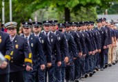 WOLCOTT, CT. 28 May 2018-052818BS352 - Wolcott Volunteer Firefighters march single file in the 2018 Wolcott Memorial Day Parade on Monday evening. Bill Shettle Republican-American