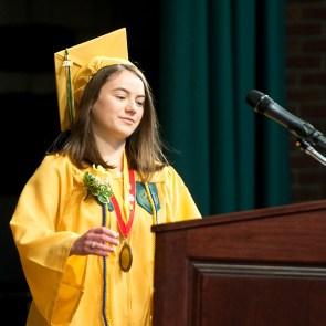 WATERBURY, CT-060218JS02-- Salutatorian Caitlin Kinsella gives her address during graduation ceremonies Sunday at Holy Cross High School. Jim Shannon Republican American