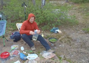 Kicking back on an evening in camp with real food, good wine and comfortable chairs to lounge in makes a backpacking getaway a pleasure, not a trial. (Tim Jones/EasternSlopes.com photo)