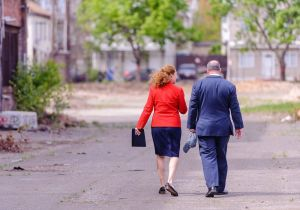 Waterbury Neil M. O'Leary and Congresswoman Elizabeth H. Esty walk back together after touring the former Anamet Site recently. Bill Shettle/Republican-American
