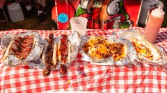 WATERBURY, CT. 30 June 2018-063018BS424 - A small sampling of the many varieties of food available during the Fourth Annual Jerk Festival featuring authentic food from the Caribbean at Library Park in Waterbury, CT on Saturday afternoon. Bill Shettle Republican-American