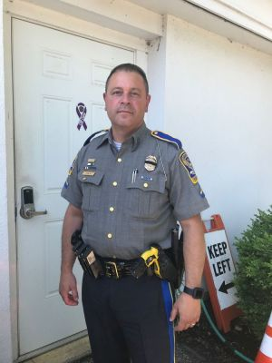 cutline attribution name:Steve Bigham Republican-American Resident state trooper Cono D'Elia from Troop L wears an older generation Taser. Woodbury Police will soon get new devices.