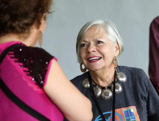 Litchfield Jazz festival founder and director Vita Muir, right, chats with Ada Rovatti following Rovatti's performance at the festival at the Goshen Fairgrounds in 2017. (Archives)