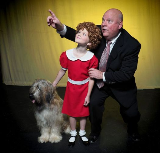 Maeve as Sandy the Dog, MaddieKay Harris as Annie and James Wood as Oliver Warbucks