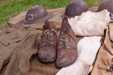 TORRINGTON, CT. 28 July 2018-072818BS13 - Authentic clothing and shoes sit on display during the WW I Living History Day at the Torrington Historical Society in Torrington, CT on Saturday afternoon. Bill Shettle Republican-American