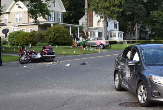 The scene of a fatal accident involving a motorcyclist at the intersection of Meriden Road and Norris Street in the city on Tuesday evening.Caroline Pape Republican-American
