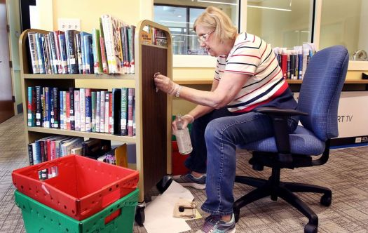 OXFORD CT. 01 August 2018-080118SV03-Kathy Kycia, circulation coordinator, organizes books at the new library in Oxford Wednesday.Steven Valenti Republican-American
